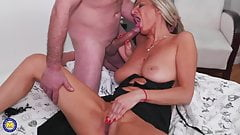 Sexy tall MILF fucked in all wet holes