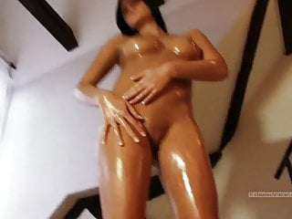 Girl at home gets naked and oily perfect breasts and ass