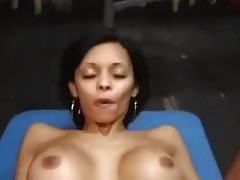 Latina milf striptease and sex