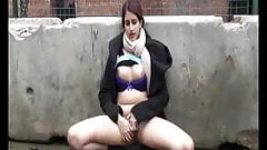 Chubby Indian Girlfriend playing with Hairy Pussy Outdoors
