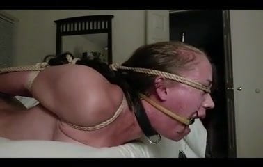 Amusing girl hogtied and fucked agree