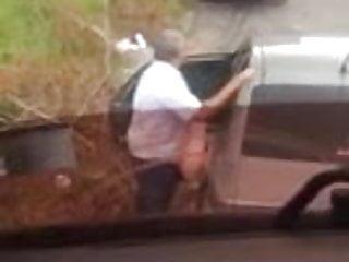 Trucker spy couple outdoor
