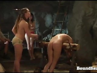 Sexy slaves kissing and licking shave pussy while mistress e