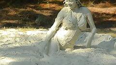 Bikini girl in the mud
