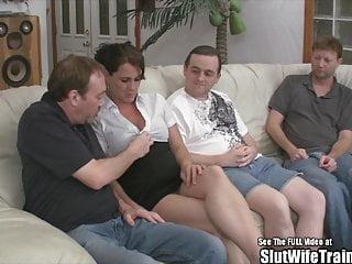Slut Wife Fucks Three Guys for Hubby