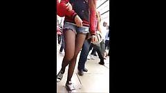 Girl In Black Pantyhose Public