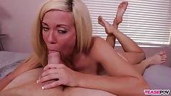 Hot blonde POV blowjob