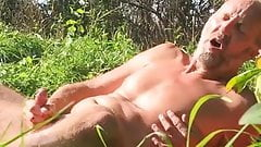 Playing and jerking off outdoors