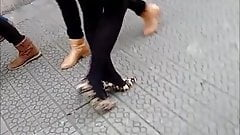 MILF in black pantyhose and leopard print high heels
