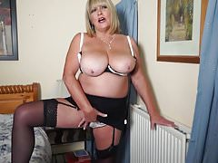 Lovely busty mature mommy with hungry cunt