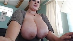 Hot brunette BBW plays with her tits and pussy part3.