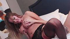 Savana Styles Tit Fucks Amber Michaels' Ass and Pussy.