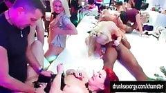 Bi pornstars having fun in a club