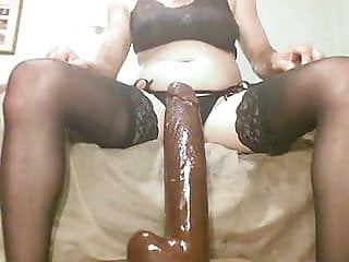 WHITE sissy riding a BBC for x ham fans