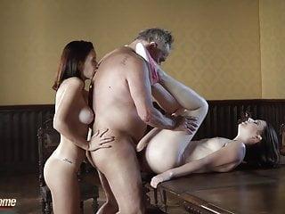 Old Man Fucks Teens In Same Time Incredible Hardcore Sex