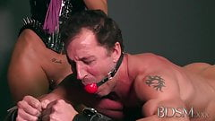 BDSM XXX Sexy Mistress loves teasing her sub boys hard cock