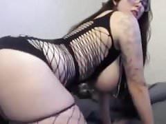 Phat ass big titties slut rides dildo hard