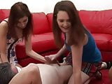 CFNM sluts have a handjob race who can cum faster