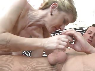 Son fucks and cums on lovely mature mom