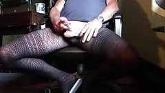 Cum in Black patterned tights