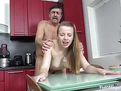 TeenMegaWorld -Old-n-Young- Older man cums on fresh tits