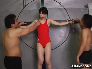 Asian sexy babe getting four cocks to chow on down