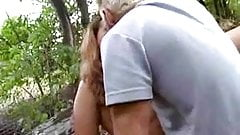 Chubby german girl gets fucked by an older man in the woods