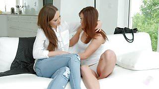 Sensual lesbian scene by Sapphix with Evalina Darling a