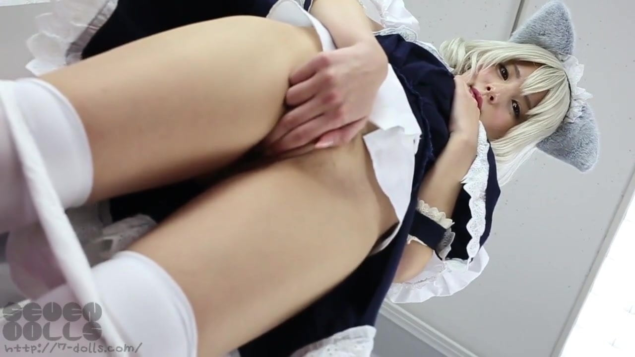 Japanese shy cosplayer cat take off panties