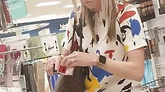girl upskirt in the store