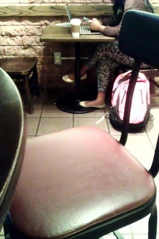 Candid Indian Woman Feet in White Flats Starbucks