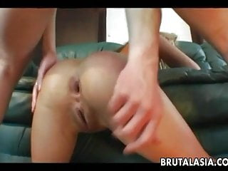 Blonde Asian bitch getting fucked deep in her asshole