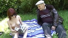 Old Man Fucking Young Slut In A Meadow