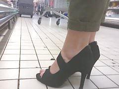 Slow motion foot fetish high heels