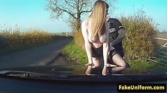 UK slut sucks policemans cock in police car