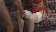 French MILF anal in white stockings.