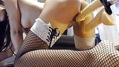 Latina Squirts using Fuck Machine and fingers.