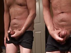 Jerk off my thick cock and cum on the mirror
