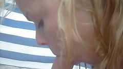 Blond girly funny suck at beach after taking pics