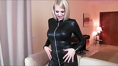 Blonde Fucked In Latex Spandex Cat Suit Cum On Pussy