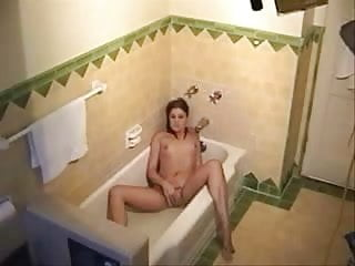 Hot masturbation of my girlfriend in bathroom. Hidden cam