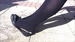 Black pantyhose and flats shoeplay