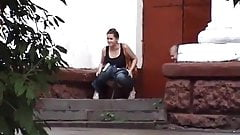 Secret outdoor peeing girls in front of public building 1