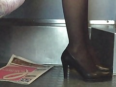 Spying Sexy Nylon Mature in Train