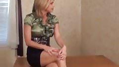 Green shirt blonde
