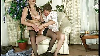 Russian Saggy Tits Mommy Stockings Fuck Young Guy