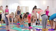Pussyloving fitness babes riding cock in trio