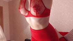 WOMAN IN RED PULLS DOWN HER SKIRT TO SHOW SEXY ASS