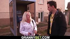Blonde old granny is riding young dick