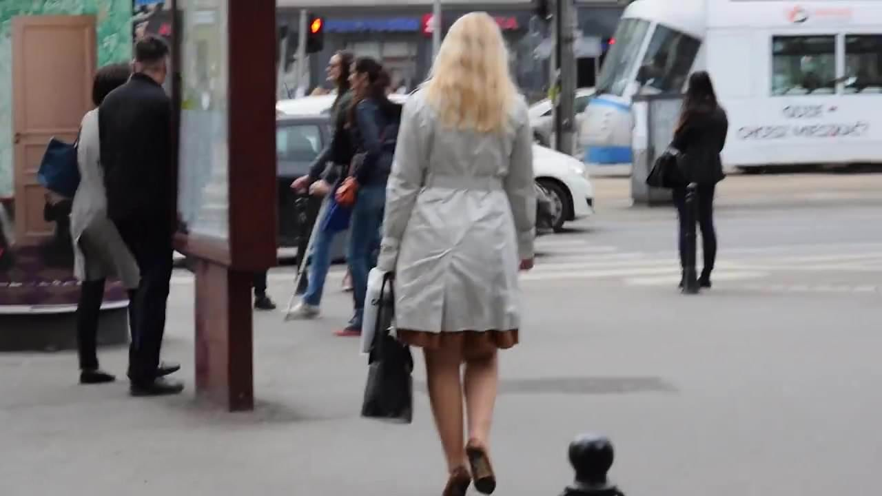 Spy hot pantyhosed mature in the street